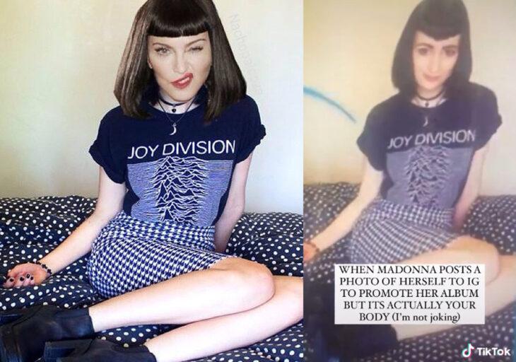 Fotografía de Madonna con photoshop vs la real