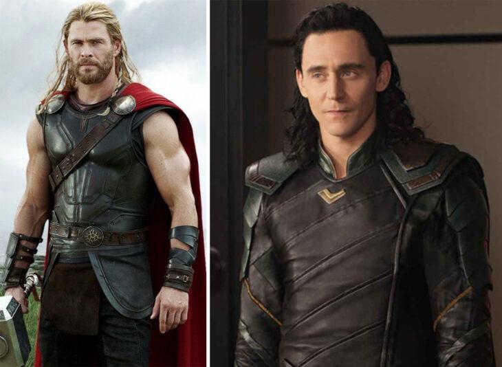 Del lado izquierdo Thor, del lado derecho Loki