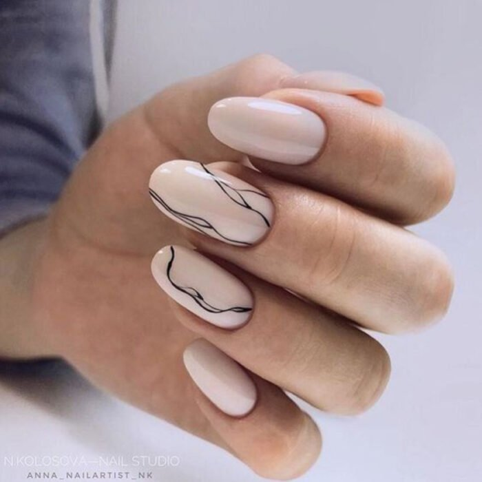Nude base nails with black lines