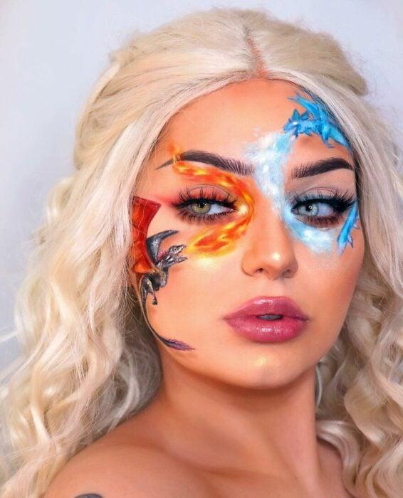 Chica con una escena de game of thrones pintado en el rostro
