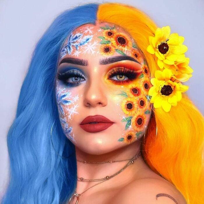 Chica con el rostro pintado con flores y trozos de hielo