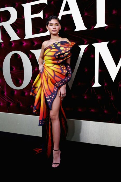 Zendaya wearing a butterfly print dress that simulates a wing