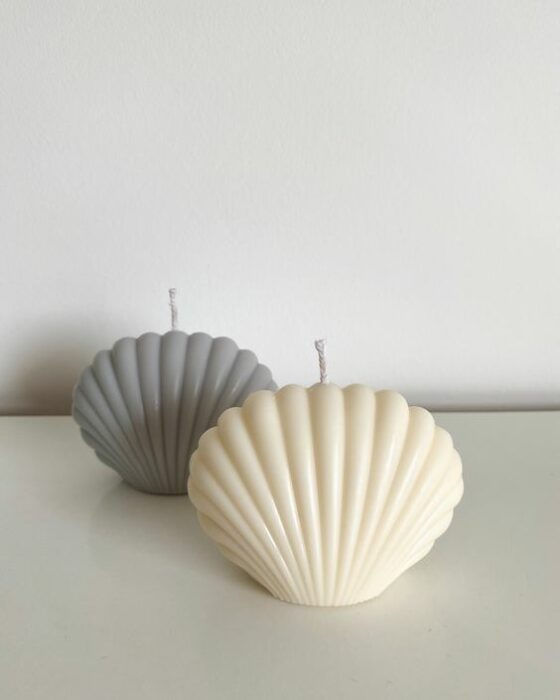 Velas con forma de conchas en diferentes colores