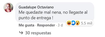 Comentario en Facebook de una mala compradora