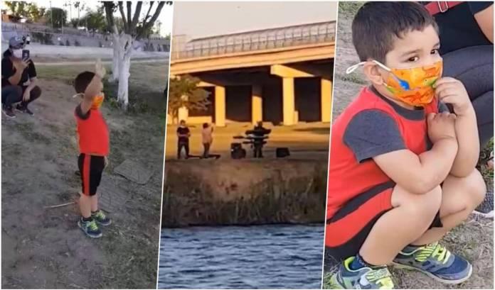 Niño mirando a su abuelito al otra lado del Río Bravo; ¡Awww! Abuelito le canta 'las mañanitas' a su nieto desde la frontera