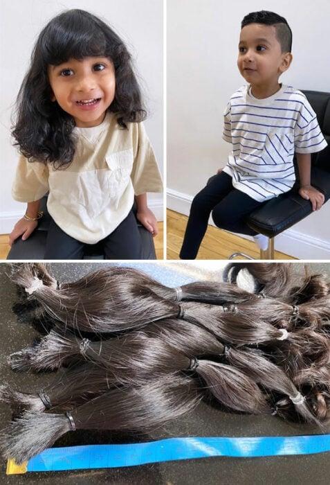 Niño antes y después de cortar su cabello; 14 Amables personas antes y después de donar su cabello