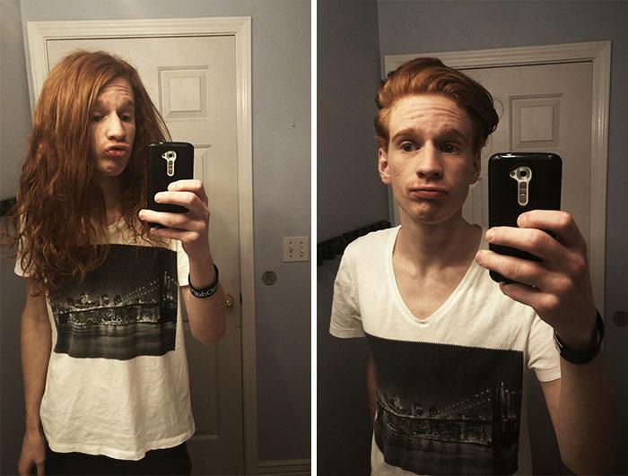 chico pelirrojo tomando selfies antes y después de cortar su cabello para donarlo