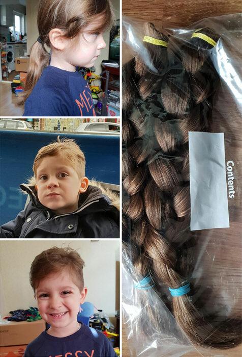 Niño de cabello rubio antes y después de cortar su cabello para donarlo