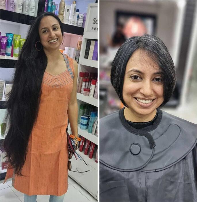 Mujer hindú antes y después de cortar su cabello para donarlo
