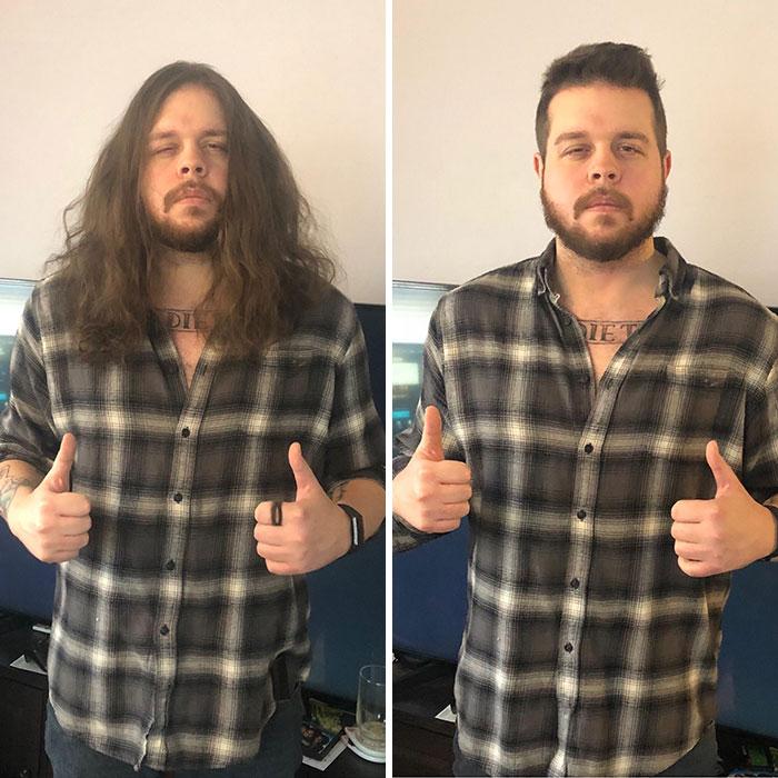 Hombre fornido con camisa a cuadros antes y después de cortar su cabello para donarlo