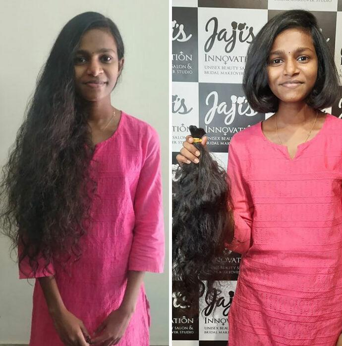 mujer con rasgos hindús antes y después de cortar su cabello para donarlo