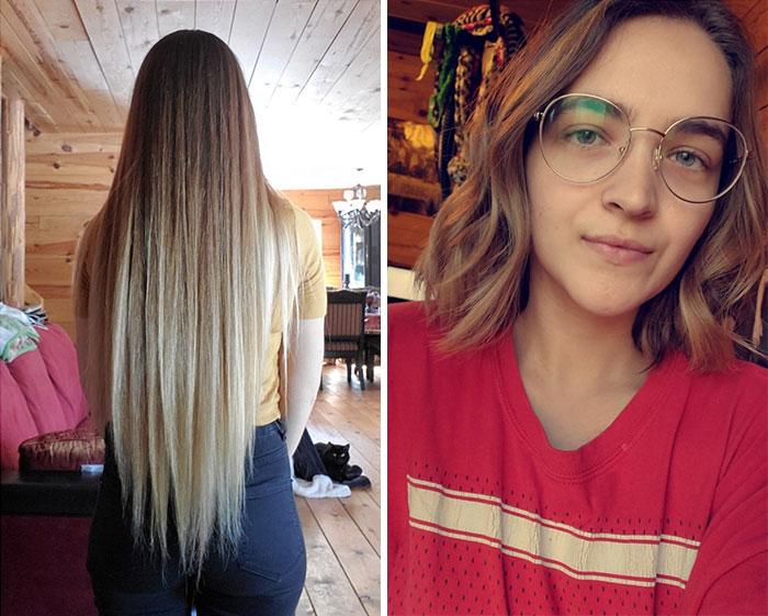 Chica de cabello rubio con anteojos antes y después de cortar su cabello para donarlo