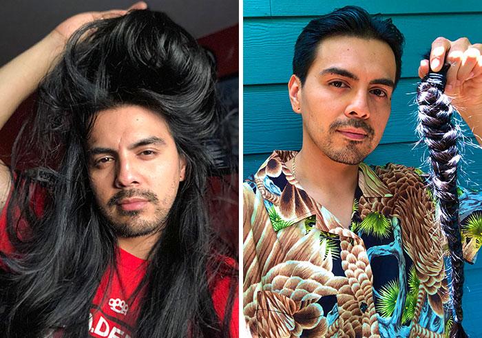 chico con cabello largo y piel morena antes y después de cortar su cabello para donarlo