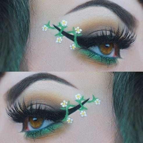 Delineado negro con verde y flores blancas;  Delineados con flores para una mirada llena de color