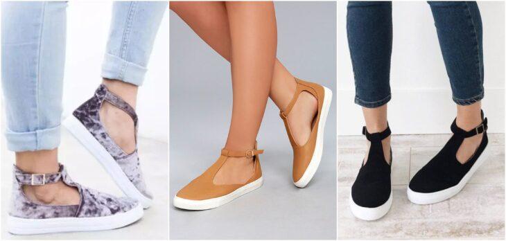Tenis T-Strap en tono mostaza, negro;  8 Tipos de zapatos para las que no gustan de usar sandalias