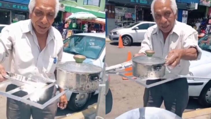 Abuelito de 71 años mostrando cómo funciona su estufa solar