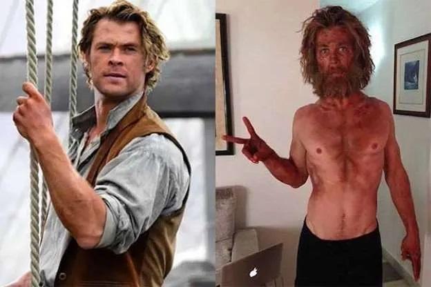 Chris Hemsworth en la película En el corazón del mar vs como se ve realmente