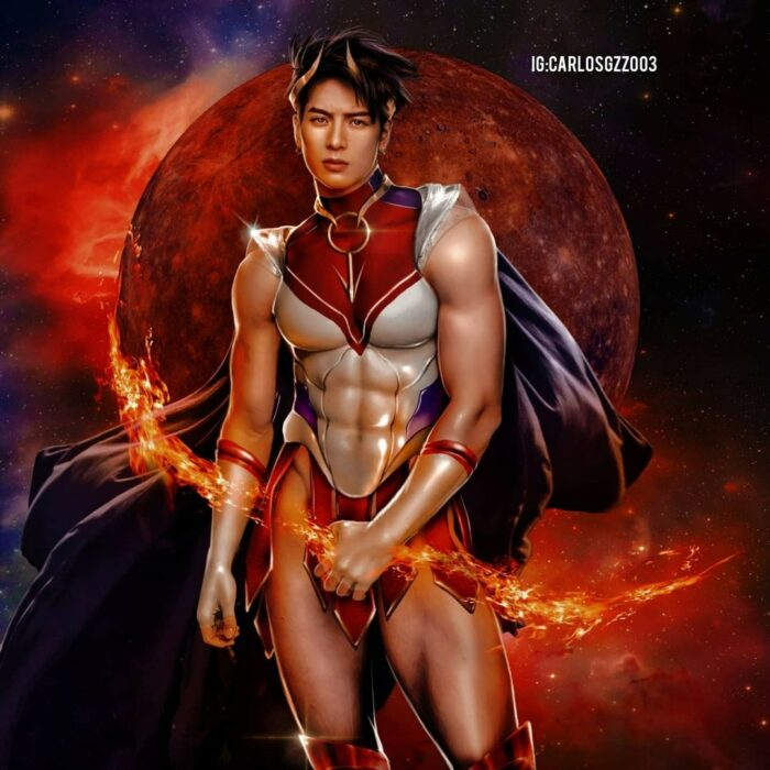 Jackson Wang  como una Sailor Scout, Ilustración de Carloz Gzz ; Artista transforma a celebridades masculinas en sailor scout