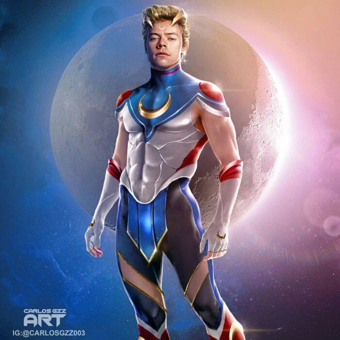 Harry Styles  como una Sailor Scout, Ilustración de Carloz Gzz ; Artista transforma a celebridades masculinas en sailor scout