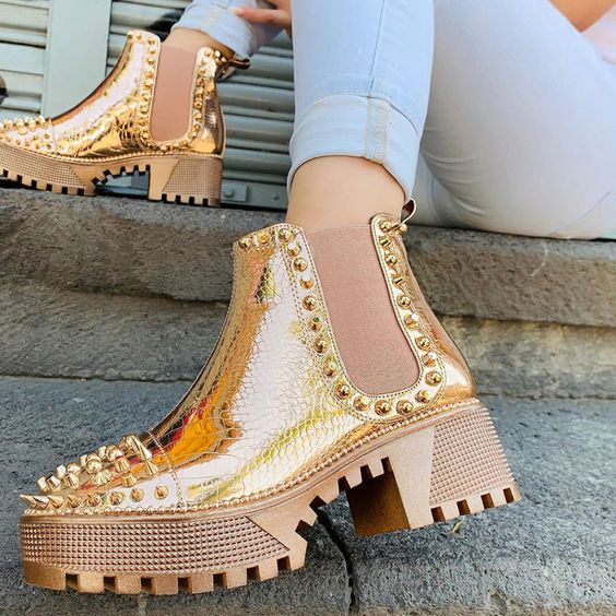 Gold-tone ankle boots with stud applications; Studded ankle boots for badass girls
