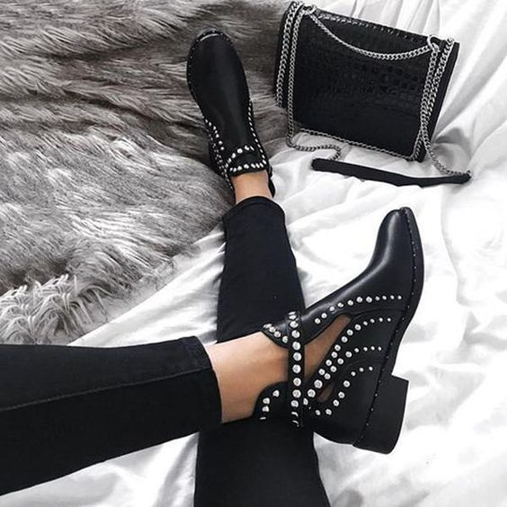 Black ankle boots with silver studs decoration; Studded ankle boots for badass girls
