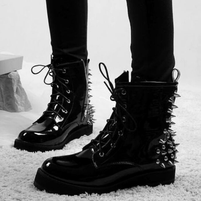 Black ankle boots, military style with studs on the heels; Studded ankle boots for badass girls