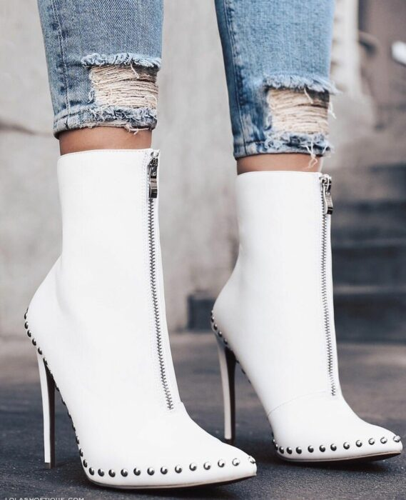 White ankle boots with silver studs around; Studded ankle boots for badass girls