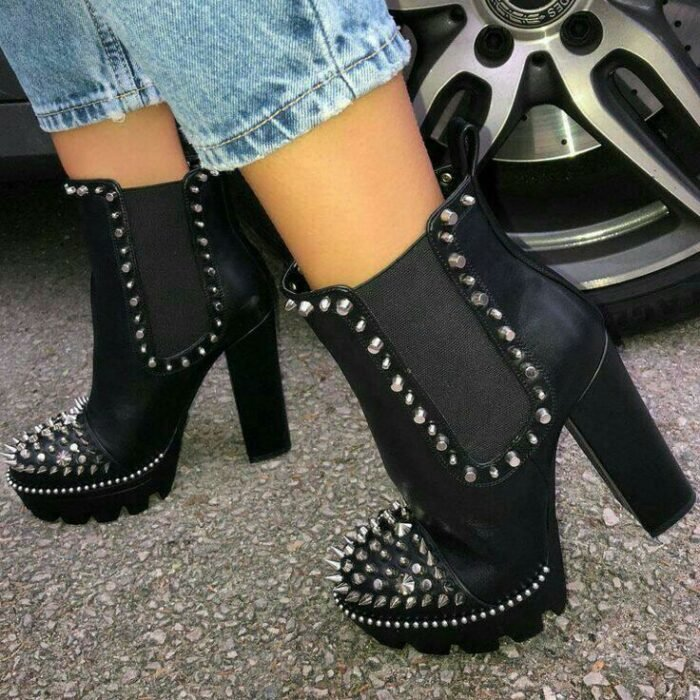 High ankle boots with studs application to the front; Studded ankle boots for badass girls