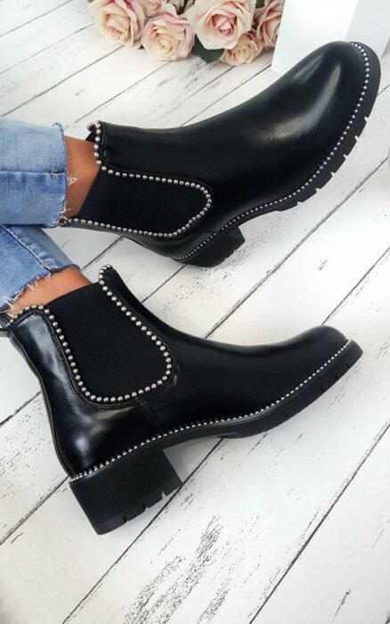 Black ankle boots with studs application; Studded ankle boots for badass girls