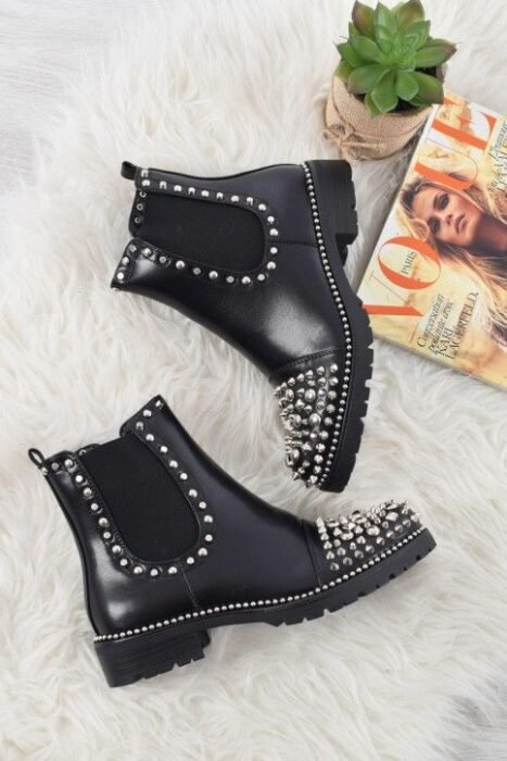Black ankle boots with studs application on the toe; Studded ankle boots for badass girls