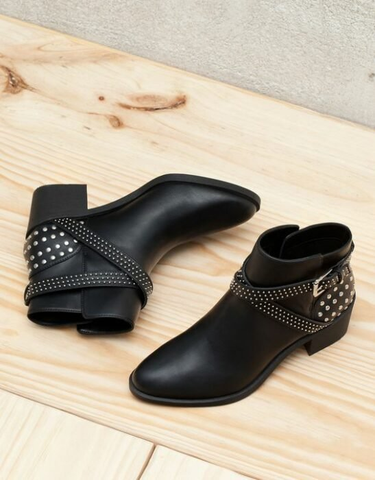 Low ankle boots with studs application on the heel; Studded ankle boots for badass girls