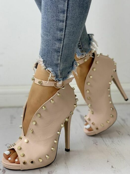 Open front ankle boots with studs on the sides; Studded ankle boots for badass girls