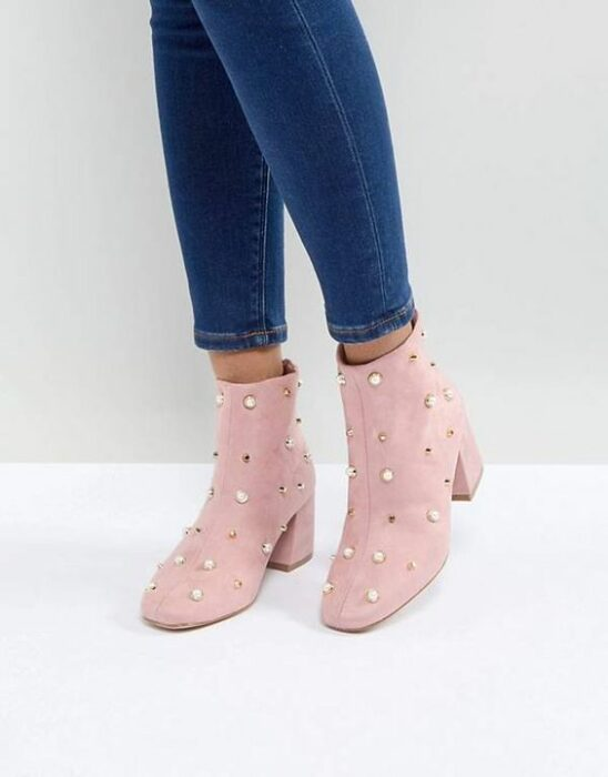 Pastel pink ankle boots with studs and pearls application; Studded ankle boots for badass girls