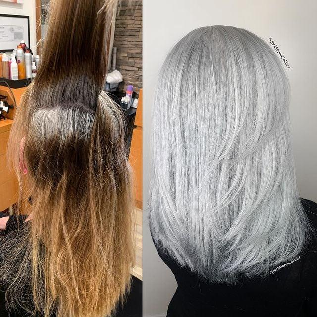 antes y después de telir un cabello en gris claro; Convierte cabello con canas en hermosas melenas plateadas