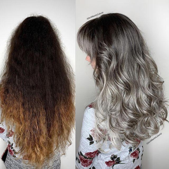 antes y después de balayage en tono plata; Convierte cabello con canas en hermosas melenas plateadas