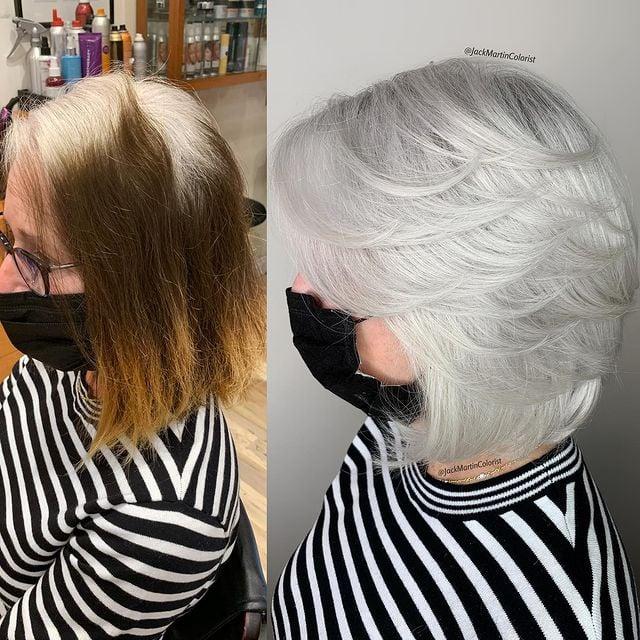 antes y después de telir un cabello corto en gris claro; Convierte cabello con canas en hermosas melenas plateadas