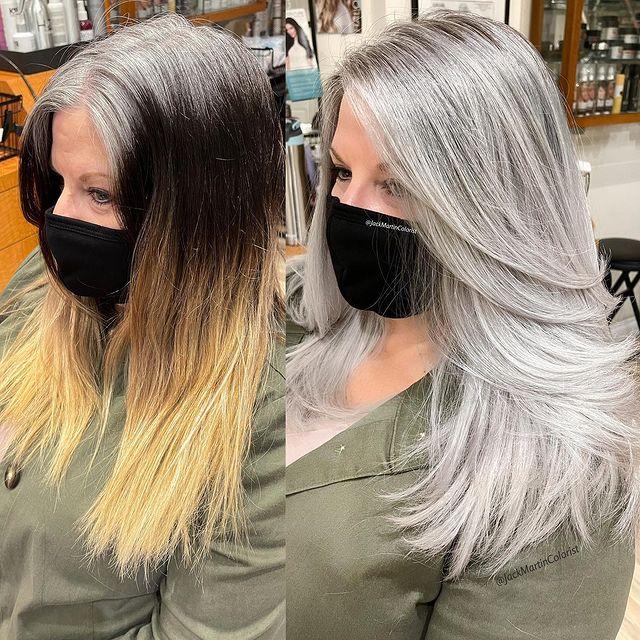 antes yd espués de decolorar el cabello a plata; Convierte cabello con canas en hermosas melenas plateadas