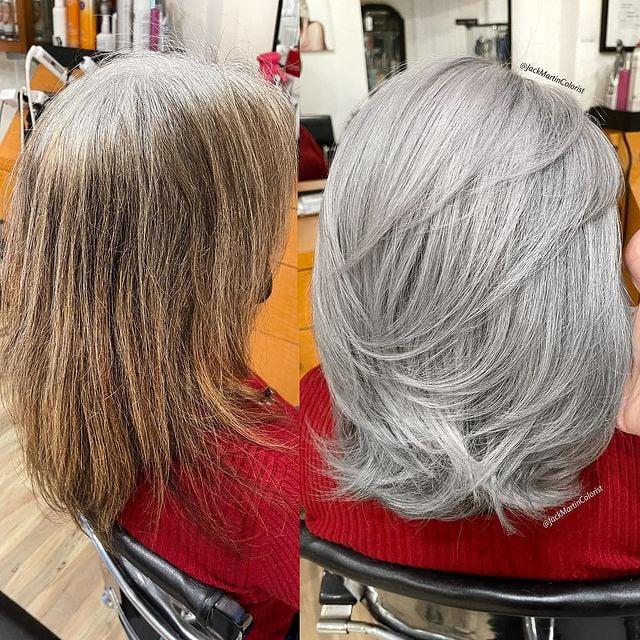 Cabello en tono plata mediano con ondas; Convierte cabello con canas en hermosas melenas plateadas