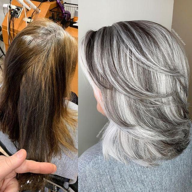 Mujer con mechones plata y negros; Convierte cabello con canas en hermosas melenas plateadas