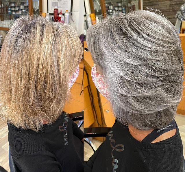 mujer con cabello en onda en tono plata y gris oscuro; Convierte cabello con canas en hermosas melenas plateadas