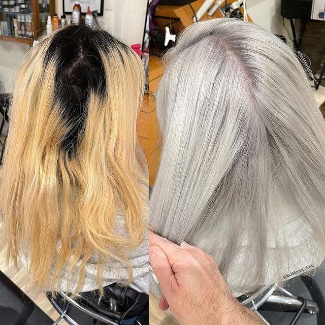 antes y después de teñir un cabello en plata; Convierte cabello con canas en hermosas melenas plateadas