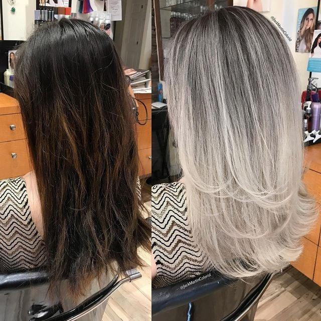 chica con cabello en tono castaño claro con mechones platas; Convierte cabello con canas en hermosas melenas plateadas