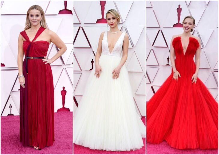 Amanda Seyfried, Reese Witherspoon y Maria Bakalova en al entrega de los premios oscar