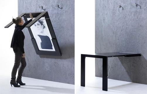 Mesa plegable que se convierte en un cuadro decorativo