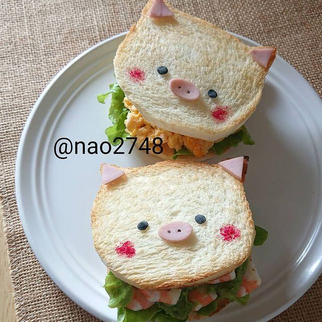 Sándwich de jamón en forma de cerdito; Platillo elaborado por nao2748; Hermosa comida de bento estilo japonés