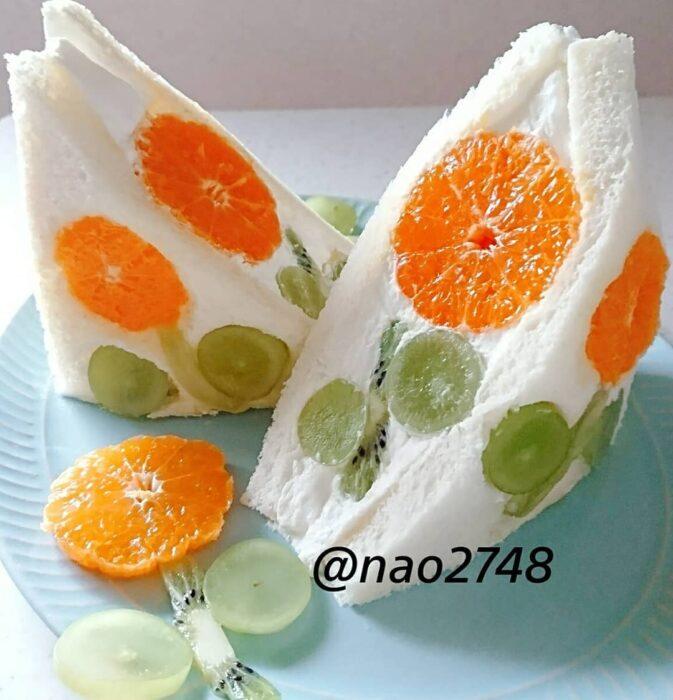 Sándwich relleno de crema batida con naranja; Platillo elaborado por nao2748; Hermosa comida de bento estilo japonés