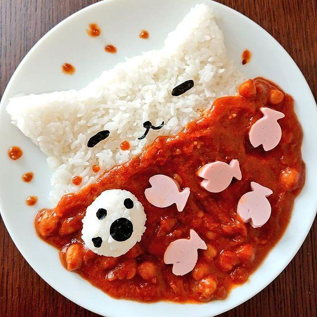 Arroz en forma de gato con guisado de chile rojo; Platillo elaborado por nao2748; Hermosa comida de bento estilo japonés