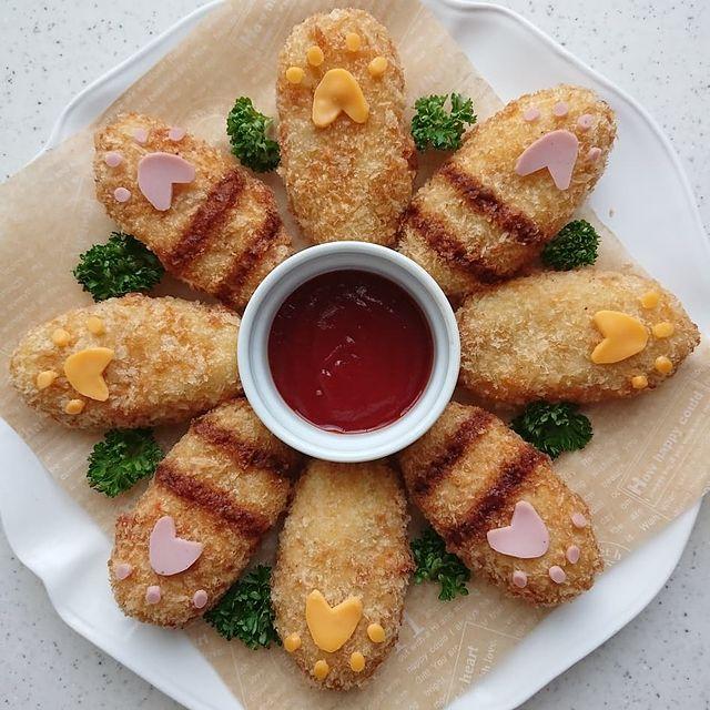nuggets de pollo en forma de patitas de gatito; Platillo elaborado por nao2748; Hermosa comida de bento estilo japonés
