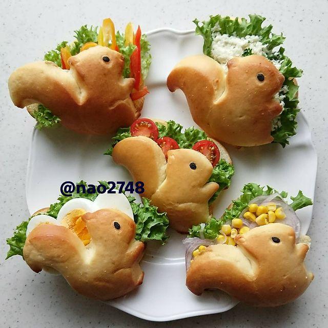 Sándwich en forma de ardilla; Platillo elaborado por nao2748; Hermosa comida de bento estilo japonés