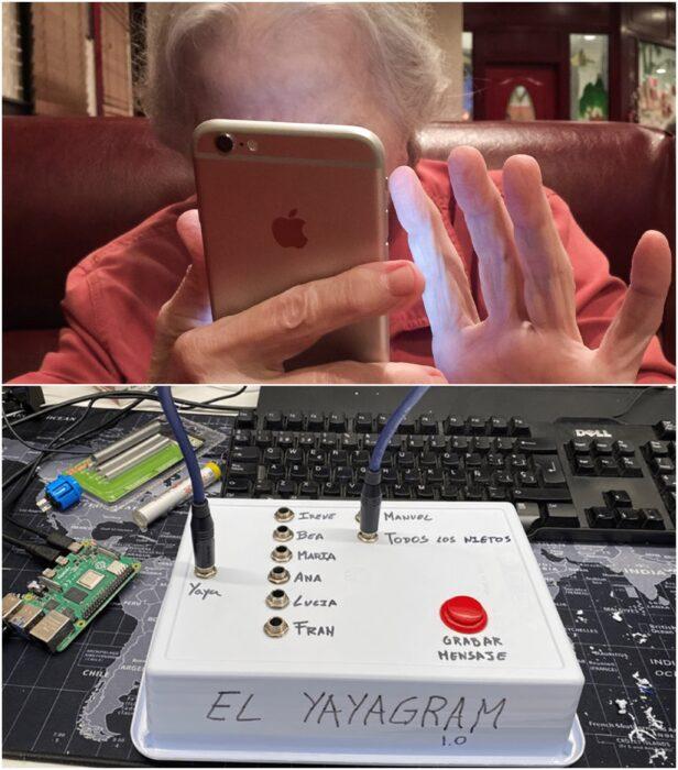 Abuelita escribiendo en sus celular; Hombre crea yayagram para comunicarse con su abuelita